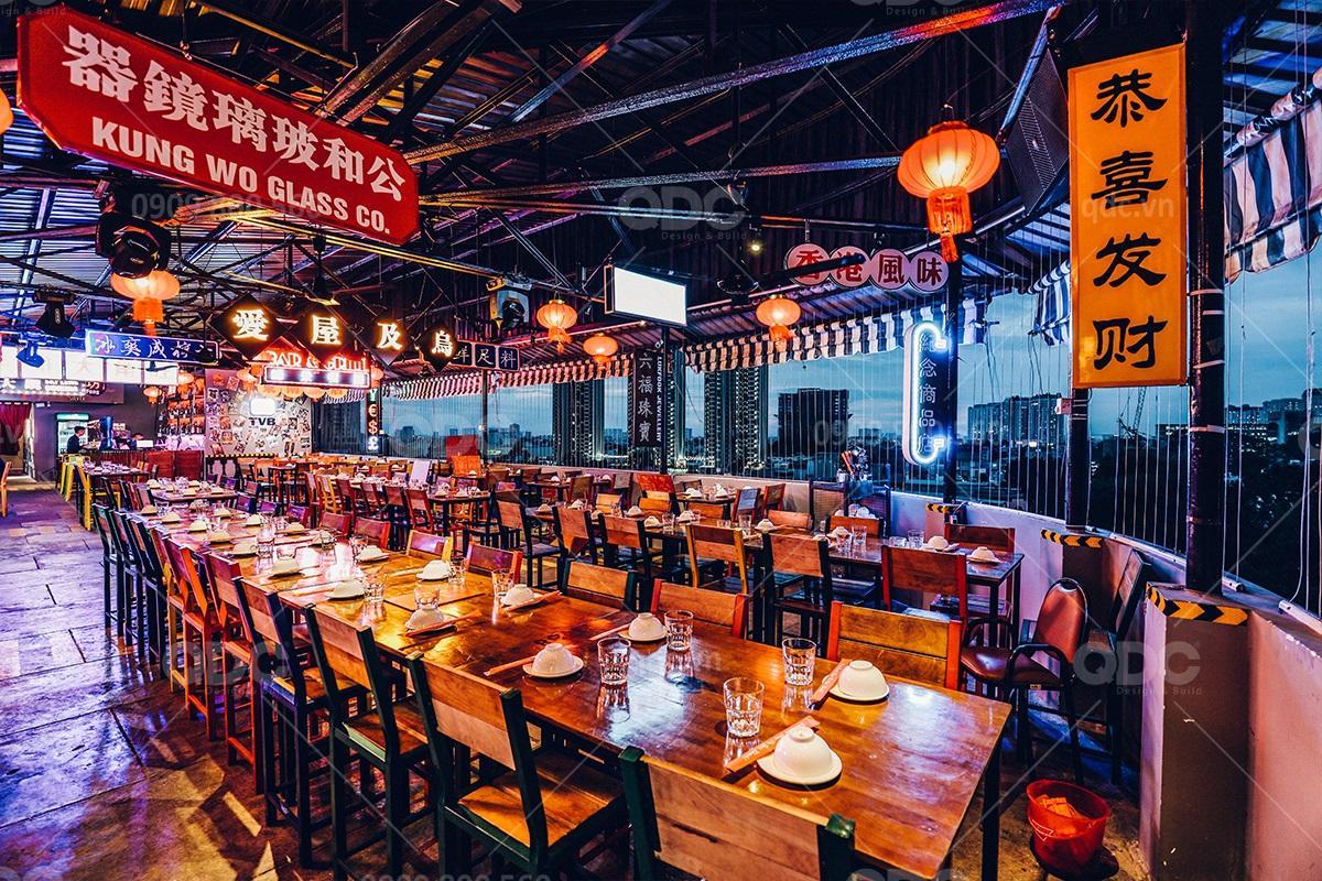 Thiết kế thi công nhà hàng - bar HongKong Lan Quế Phường