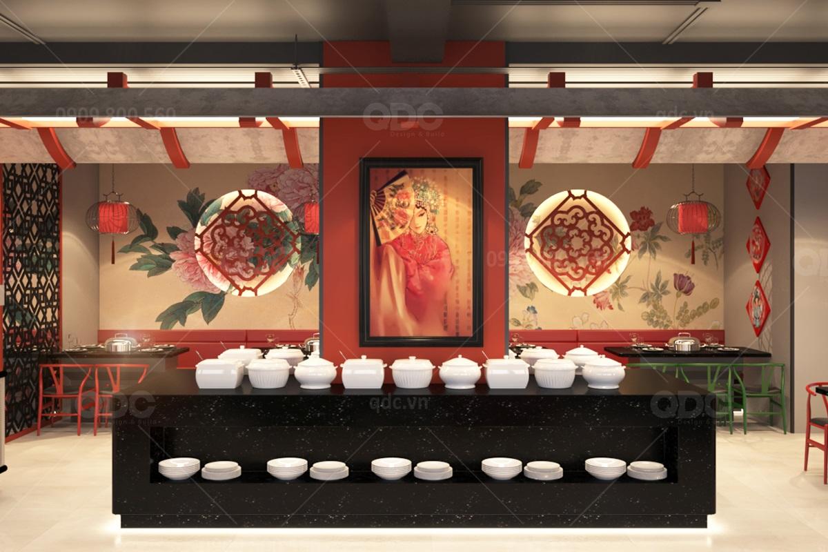 Khu vực quầy Buffet được trang trí bằng tranh vẽ kết hợp mô phỏng mái ngói cổ Trung Hoa