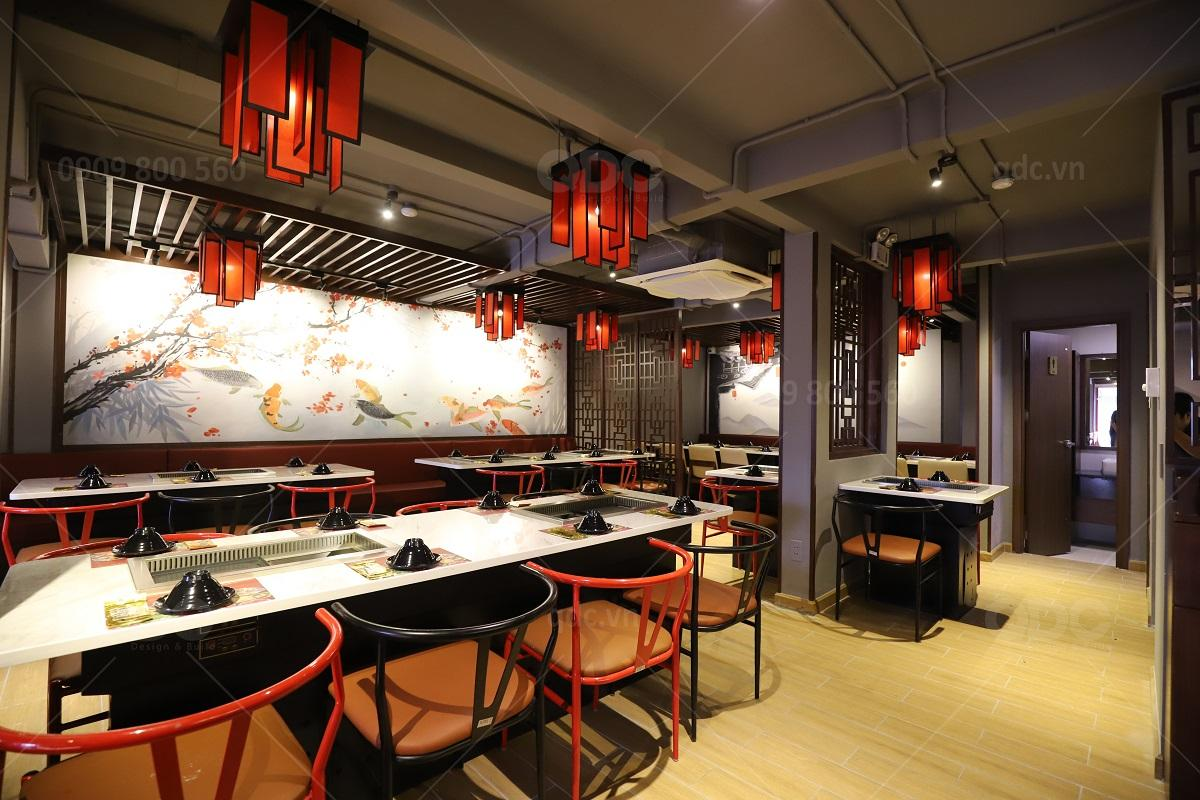 Thiết kế và thi công nhà hàng Hoa Sik Dak Fook Hotpot BBQ NTP