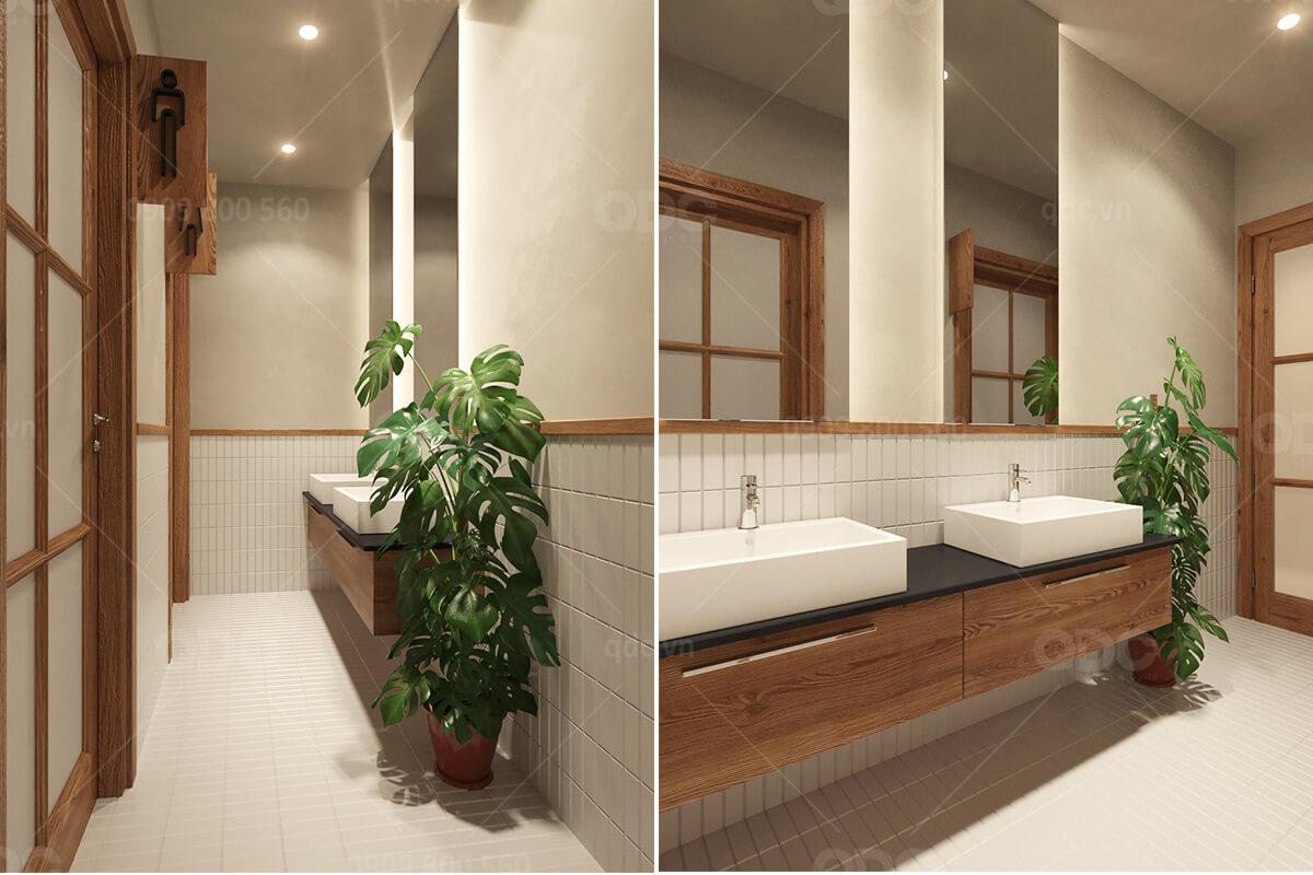 Thiết kế phòng vệ sinh của một nhà hàng Temujin do đơn vị QDC thực hiện
