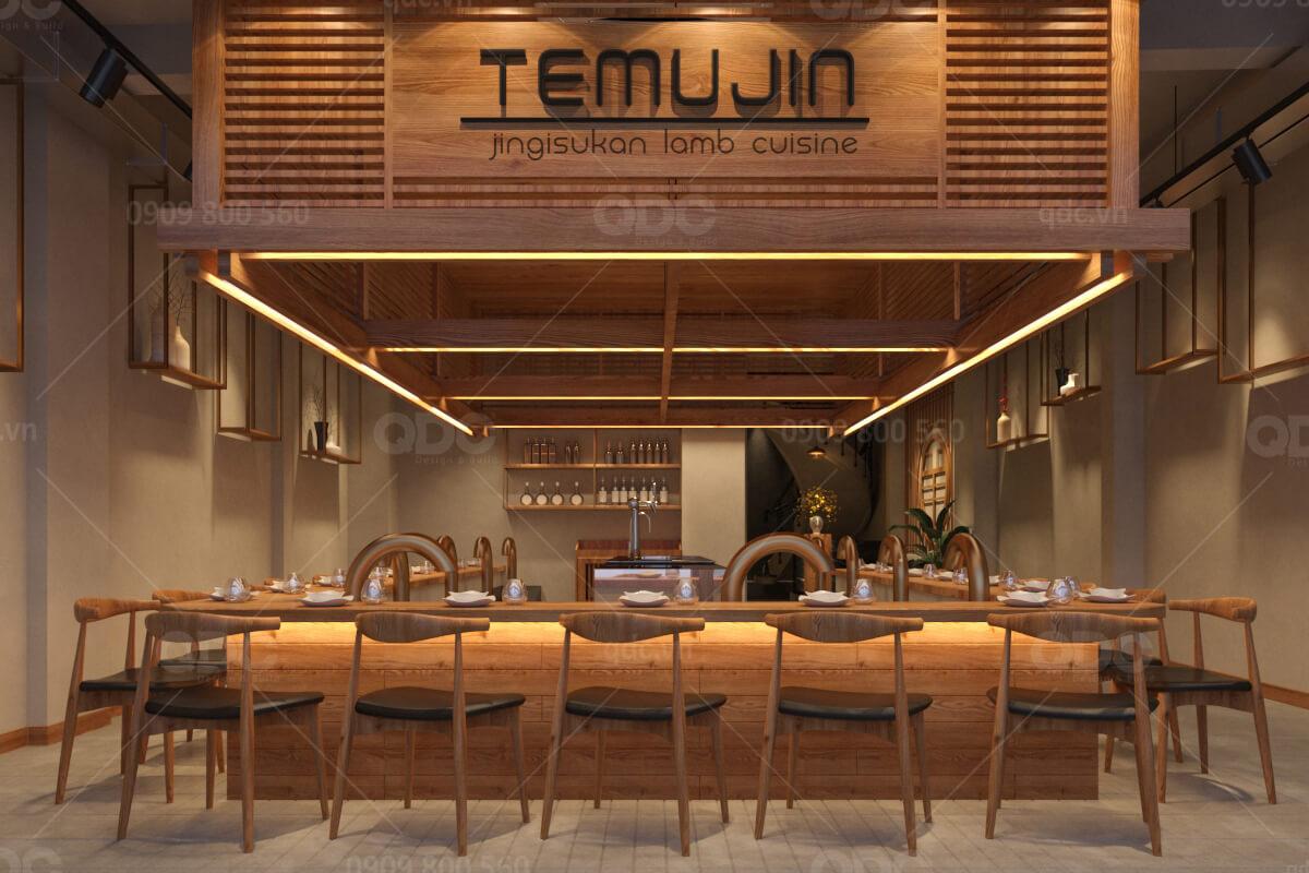 Thiết kế nội thất nhà hàng Hàn Quốc đậm chất hoài cổ