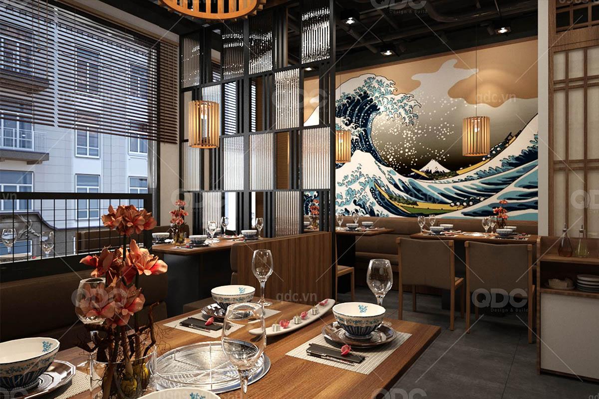 Khu ăn uống tầng 1 của một nhà hàng BBQ kiểu Nhật
