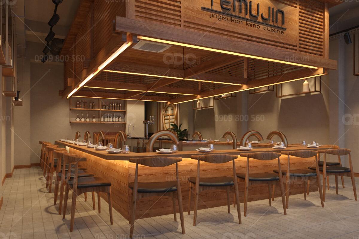 Thiết kế nhà hàng Hàn Quốc hoàn toàn bằng gỗ