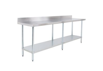 Food preparation - working table with rear edge.