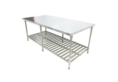 Stainless steel food working table with fixed legs
