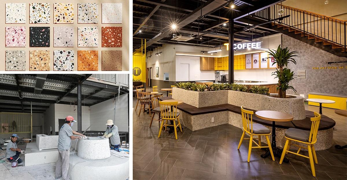 Thi công nhà hàng – café độc đáo với chất liệu đá mài