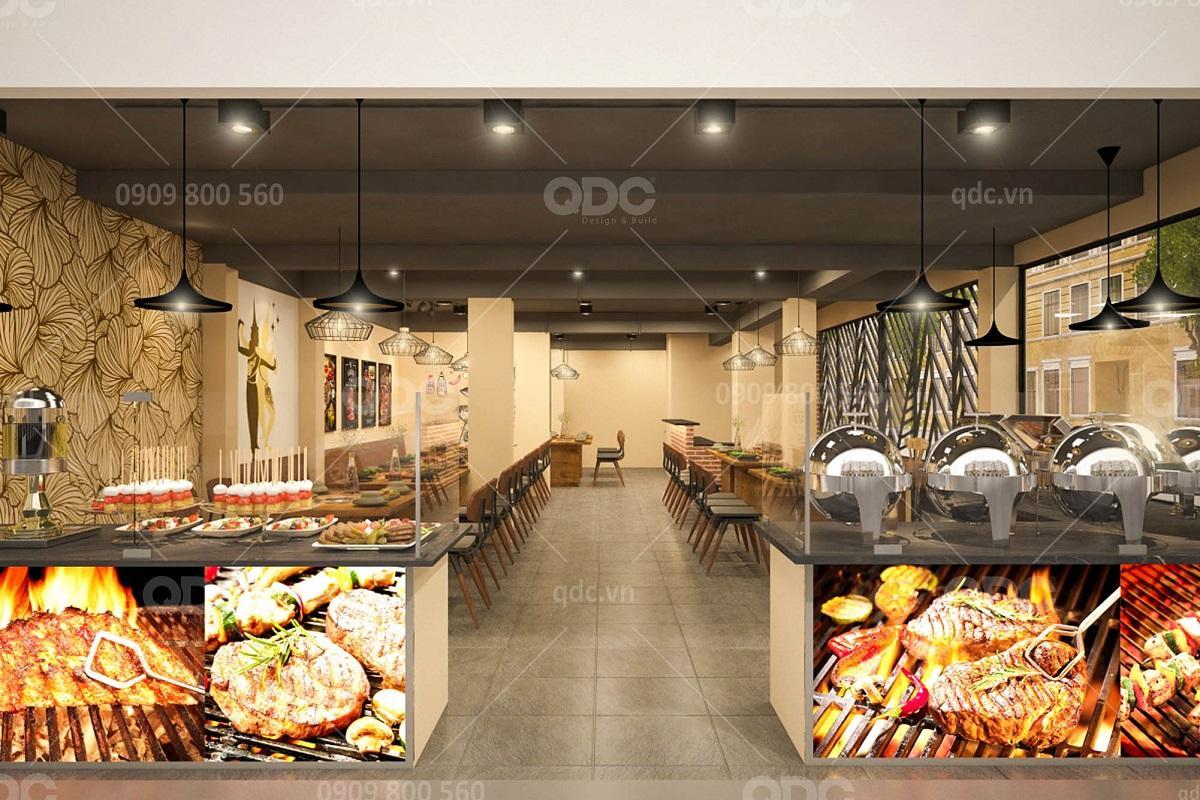 Kinh nghiệm Thiết kế và Thi công nội thất nhà hàng Buffet hút khách